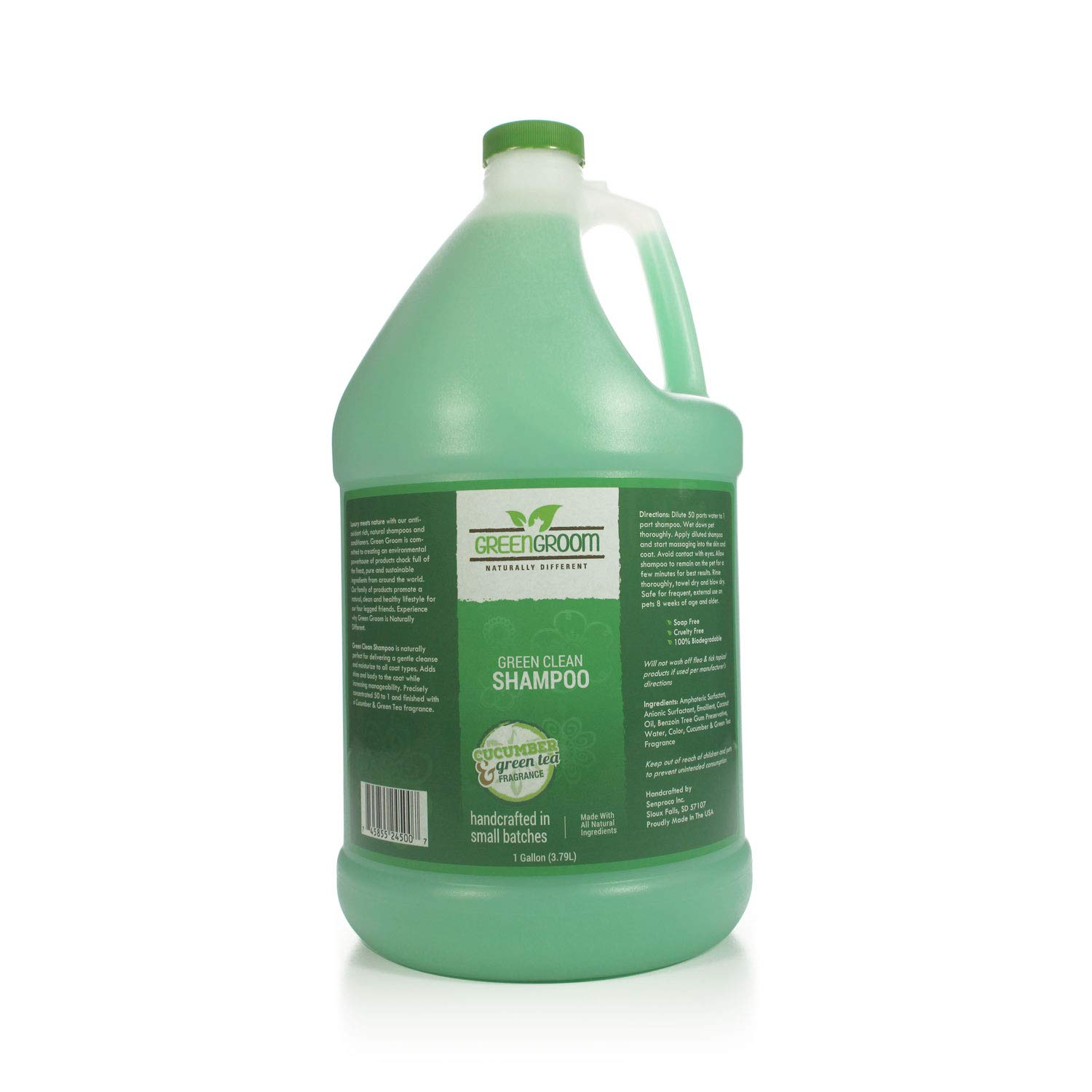 Green Groom Green Clean Dog Shampoo, 1 Gallon - All Natural Ingredients, 50:1 Concentration, Professional Grade Grooming Shampoo