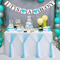 Adeeing Baby Blue Tulle Table Skirt 9ft Tutu Tablecloth Ruffle Table Skirting for Baby Shower Boy Wedding Birthday Party Home Decoration (L9(ft) H 30in)