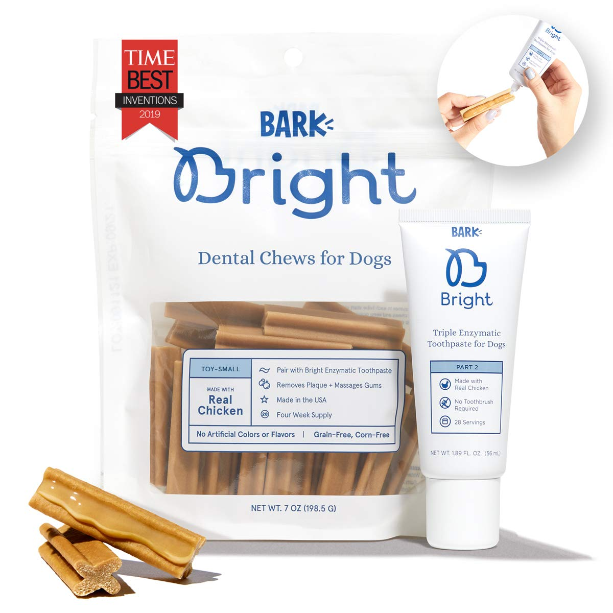 Barkbox Bright Brushless Dental Chews and Enzymatic Toothpaste Kit | 1-Month Supply | Vet-Recommended | for Dogs and Cats | Freshens Breath & Reduces Plaque Buildup | Made with Real Chicken