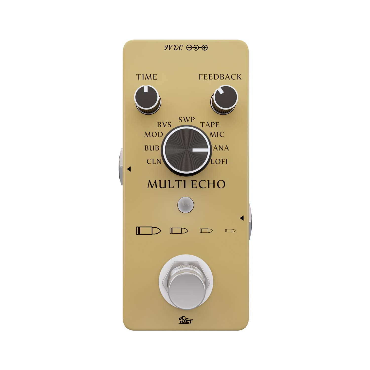 Iset Digital Delay Guitar Effect Pedal with 9 Delay Modes for Electric Guitar BASS True Bypass