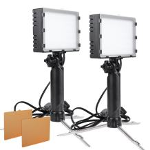 Hakutatz 2set LED Portable Continuous Photography Lighting Lamp Light with Stand Kit for Table Top Photo Video Studio Light with Color Filters