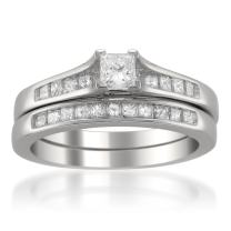 La4ve Diamonds 14k White Gold Princess-Cut Diamond Engagement Bridal Set Wedding Ring (7/8 cttw, H-I, SI2-I1)
