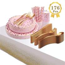 176Pcs Gold Disposable Dinnerware Set, Compostable Paper Plates Biodegradable Eco Party Supplies - 25 Guest Dinner & Dessert Plates with Tablecloth for Wedding Birthday Party, Christmas, Picnic, BBQ