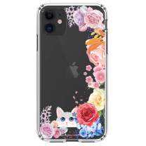 """HUIYCUU Compatible with iPhone 11 Case 6.1"""", Shockproof Anti-Slip Cute Glitter Clear Design Crystal Flower Pattern Funny Slim Fit Soft Bumper Girl Women Cover Case for iPhone 11 XI, Rose Cat"""