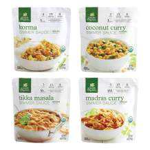Simply Organic Indian Inspired Dishes Simmer Sauce Sampler Pack | Tikka Masala (2), Korma (2), Madras Curry (1), Coconut Curry (1) | 6 oz | Pack of 6