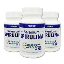 Selenium Spirulina Tablets ∣ Vegan Selenium, Natural Multivitamin & Mineral, Non-GMO, Gluten Free, B12, β-Carotene, Chlorophyll, GLA ∣ 400mg, 150 Counts-3 Month Supply ∣ by FEBICO