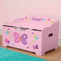 DIBSIES Personalization Station Personalized Modern Expressions Toy Box - (Pink with Butterflies & Flowers)