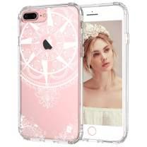 MOSNOVO iPhone 7 Plus Case, White Henna Tribal Mandala Transparent Clear Design Sleek Case with Hard Back and Flexible TPU Bumper for iPhone 7 Plus (2016)