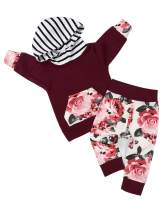 Baby Girl Clothes Long Sleeve Floral Stripe Hoodie Tops Sweatshirt and Flowers Pants Outfits Set