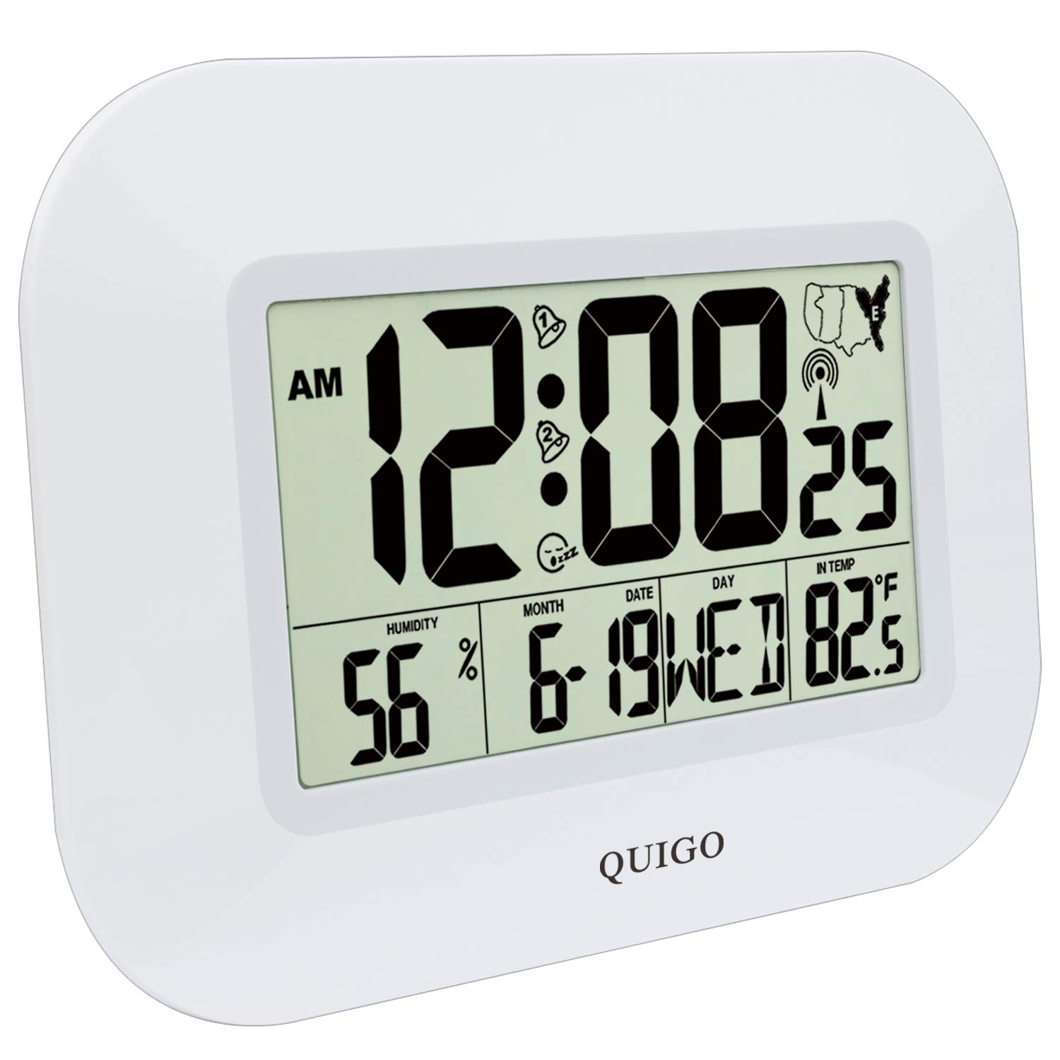 """QUIGO Atomic Digital Wall Clock Large Alarm Battery Operated Bedroom Kitchen Office Desk 14""""(White)"""
