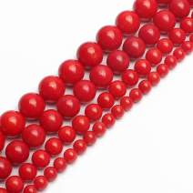 Love Beads Red Coral Round Loose Beads for Jewelry Making 15inches 6mm Gemstone Beads Spacers