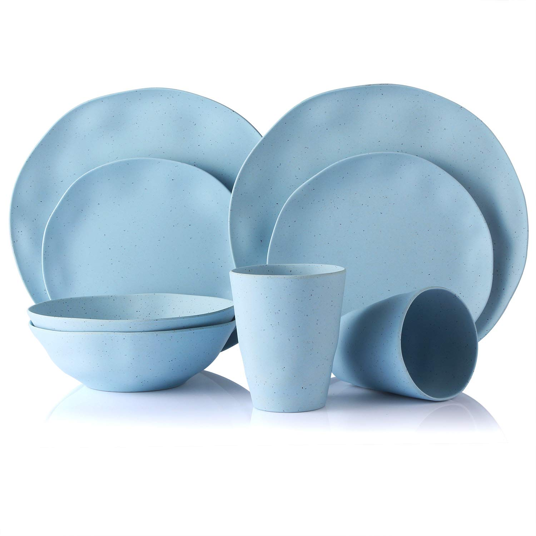 Bamboo Dinnerware Set, Morgiana 8-Pieces Reusable Tableware Eco-Friendly Bamboo Fiber Dinnerware Sets for Adults & Kids (Blue)