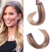 """Tape in Hair 20"""" Remy Human Hair Glue in Extensions Balayage Color #6/27/27 Skin Weft Hair Extensions (50g 20Pcs/Package)"""
