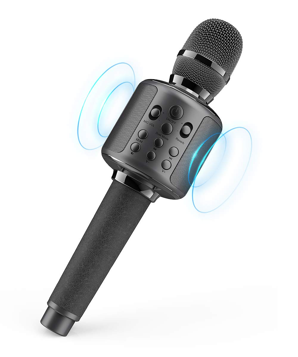 Karaoke Microphone Wireless Singing Machine with Bluetooth Speaker for Cell Phone/PC, Portable Handheld Mic Speaker Support Reverb/Duet (Black)