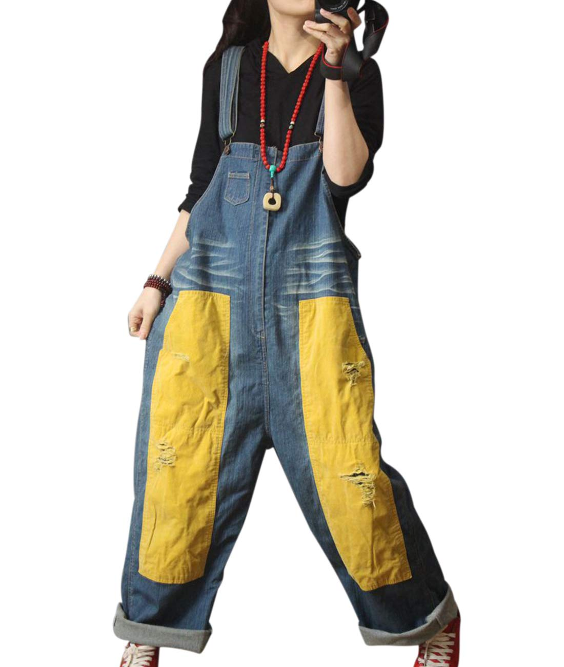 YESNO Women Casual Loose Denim Jumpsuits Rompers Contrast Color Patchwork & Back Pockets Distressed PJG