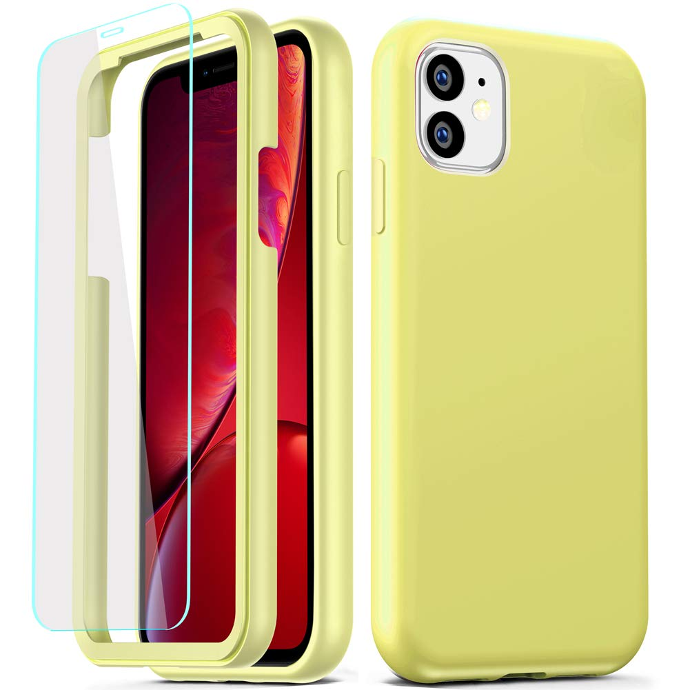COOLQO Compatible for iPhone 11 Case, 360 Full Body Coverage Hard PC+Soft Silicone TPU 3in1 Shockproof Matte Phone Cover Certified Military Protective with [2 x Tempered Glass Screen Protector]-Yellow