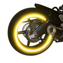 """customTAYLOR33 (All Vehicles) Yellow/Gold High Intensity Grade Reflective Copyrighted Safety Rim Tapes (Must select your rim size), 17"""" (Rim Size for Most SportsBikes)"""