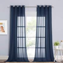 NICETOWN Chiffon Sheer Curtain Panels 96 inches Long, Soft Grommet Top Chiffon Sheer Window Treatment Curtains for Living Room (W54, Navy Blue, 2 Pieces)