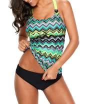Vanbuy Womens Spaghetti Strap Striped Print Ruffle Layered Tankini Top Swim Bating Suit Top Only