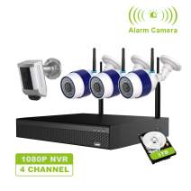 FREECAM Wireless Home Security Camera System Outdoor CCTV Camera System with Floodlight Security Camera,4CH WiFi NVR Kit,Siren Alarm M430C