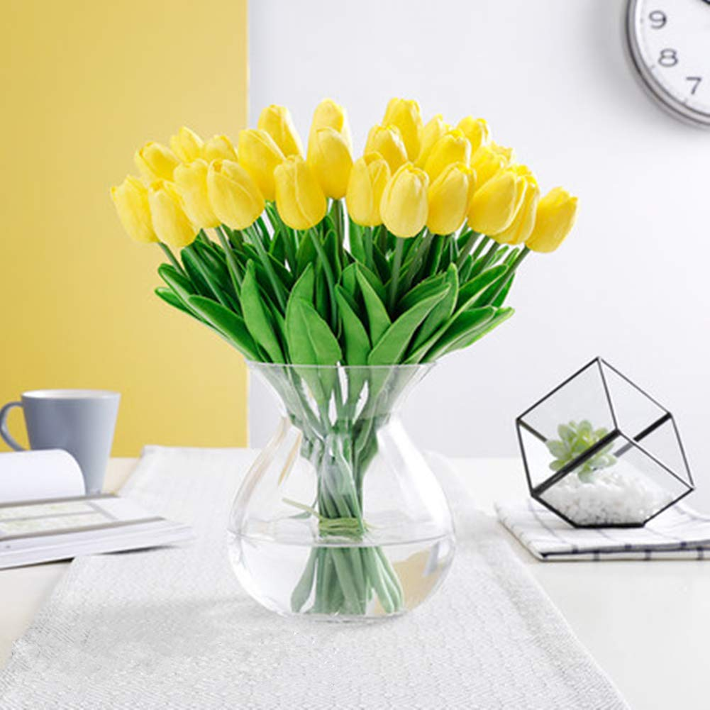 SHINE-CO LIGHTING PU Real Touch Tulips Artificial Flowers 10 Pcs Flowers Arrangement Bouquet for Home Office Wedding Decoration (Yellow)