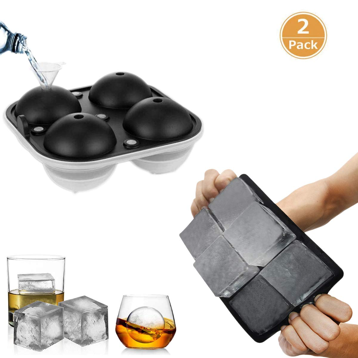 Ice Cube Trays Large Food Grade Flexible Silicone Ice Mold with Spill Lid Easy Stacking for Whiskey Soups Baby Food and Frozen Treats Gifts 4 Sphere Ice Ball Maker 6 Square Cube Molds 2 Pack