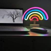 Rainbow Neon Signs with Lamp Base Art Decorative Rainbow Neon Lights Table Night Light Battery Powered for Kids' Bedroom Home Decoration, Valentine's Day, Christmas