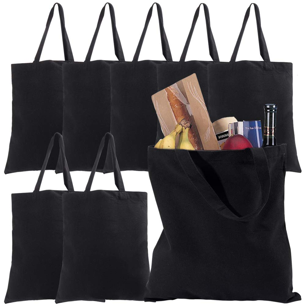 Cotton Tote Bags 8 Pack Canvas Tote Bags Black Reusable Canvas Grocery Bag Blank Shopping Bag White Cloth Bag with Handles for Decorating Art Craft Bible Bookbag Events Schools Beach, 15 x 14 Inch
