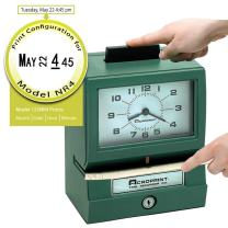 Acroprint BP125-6NR4 Heavy Duty Manual Battery Operated Time Recorder for Month, Date, Hour (1-12) and Minutes Time Clock,Green