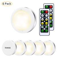 Under Cabinet Lights, Bawoo Wireless LED Puck Lights Remote Control, 4000K Natural White Brightness Dimmable Battery Powered Touch Closet Cupboard Kitchen Wardrobe Lights, 6 Pack