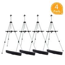 """Ohuhu 4-Pack 66"""" Tall Lightweight Aluminum Field Easel - Great for Table-Top or Floor Use - Free Bag - Back to School Art Supplies"""