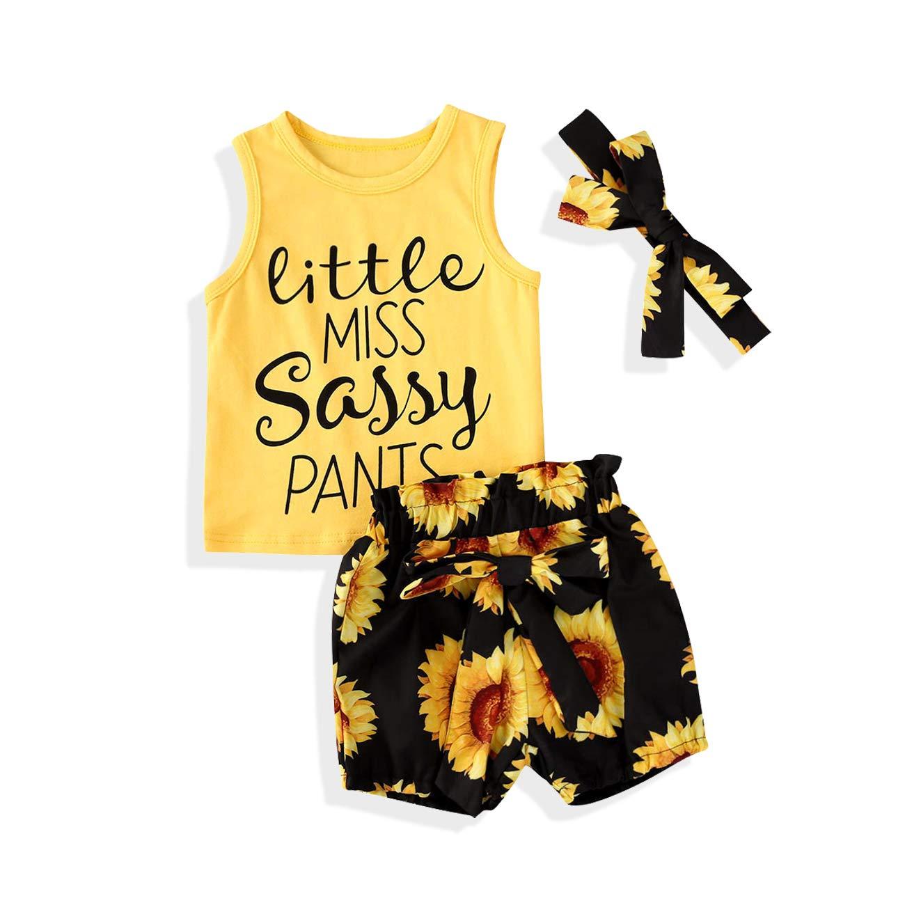 2Pcs Toddler Kids Girl Sunflower Outfits T-Shirt Tops + Denim Shorts Summer Clothes