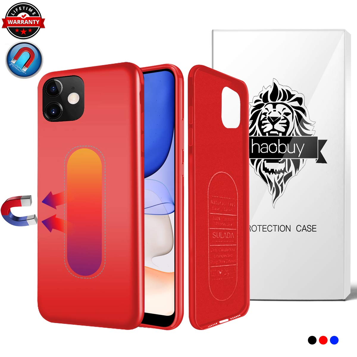 Magnetic Case for iPhone 11, Ultra Thin Magnetic Phone Case for Magnet Car Phone Holder with Invisible Built-in Metal Plate, Soft TPU Shockproof Anti-Scratch Protector Cover for iPhone 11 6.1''-Red