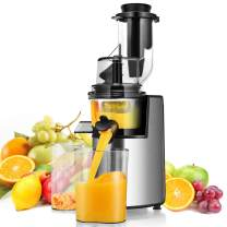 Costway 3inch Wide Chute Slow Masticating Juicer Extractor with Reverse Function, Cold Press Juicer Machine for Higher Nutrient Fruit and Vegetable Juice, 200W Quiet Motor with BPA-FREE, Easy to Clean