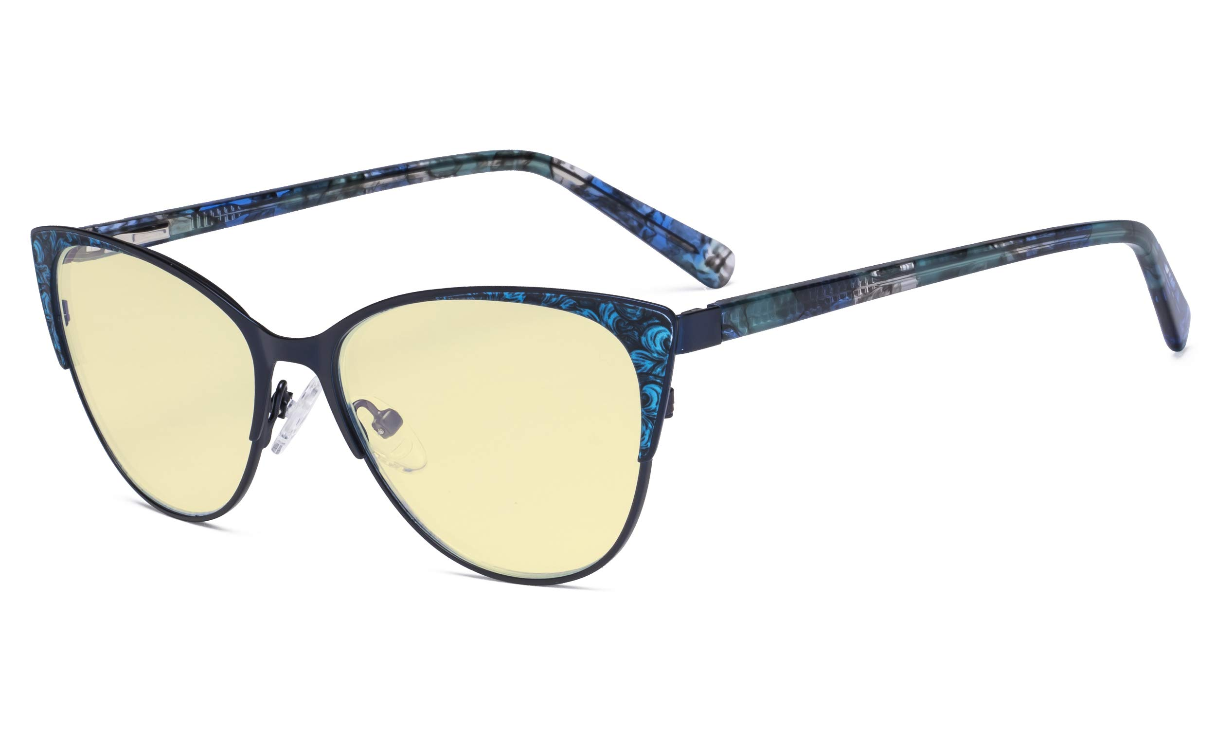 Eyekepper Oversize Ladies Butterfly Design Blue Light Blocking Glasses - Anti Glare UV Rays Computer Screen Eyegalsses Women - Cut Digital Glare Yellow Filter Lens Reduce Eye Strain - Blue
