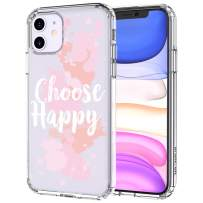MOSNOVO iPhone 11 Case, Choose Happy Quotes Pattern Printed Clear Design Transparent Plastic Hard Back Case with TPU Bumper Protective Case Cover for iPhone 11