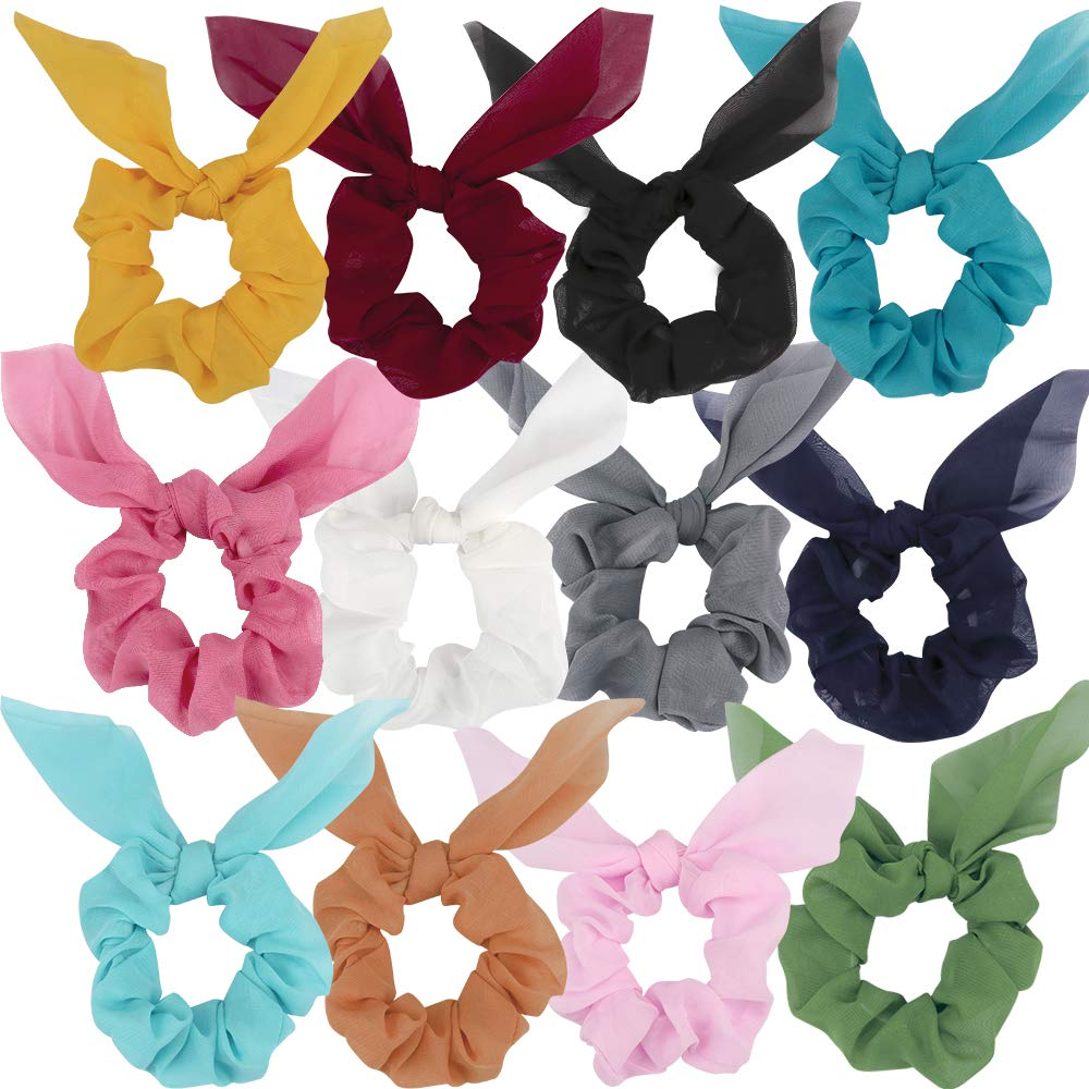 ANBALA Bow Scrunchies, Thin Chiffon Scrunchies, 12 Pcs Hair Scrunchies Hair Ties Accessories for Girls Women (12 Colors)