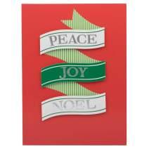 JAM PAPER Handmade Christmas Cards & Matching Envelopes Set - Peace Joy Noel Ribbon - 12 Cards/Pack