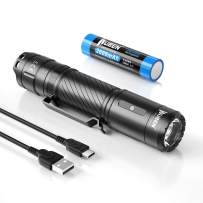 WUBEN C3 Rechargeable Flashlight 1200 High Lumens Tactical Super Bright LED Flashlights 18650 Battery Included Type-C Charging IP68 Water-Resistant 6 Light Modes Pocket-Sized EDC Flash Light
