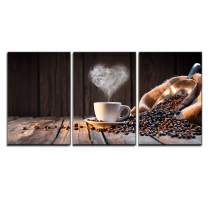 "wall26 - 3 Piece Canvas Wall Art - Traditional Coffee Cup with Heart-Shaped Steam on Rustic Wood - Modern Home Decor Stretched and Framed Ready to Hang - 16""x24""x3 Panels"