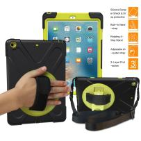 BRAECNstock New iPad 9.7 inch (5th Generation) 2017 Case, Three Layer Heavy Duty Soft Silicone Hard Bumper Case Built-in-stand Drop proof Scratch Resistant Case for New iPad 2017 9.7 inch (Black/Gren)
