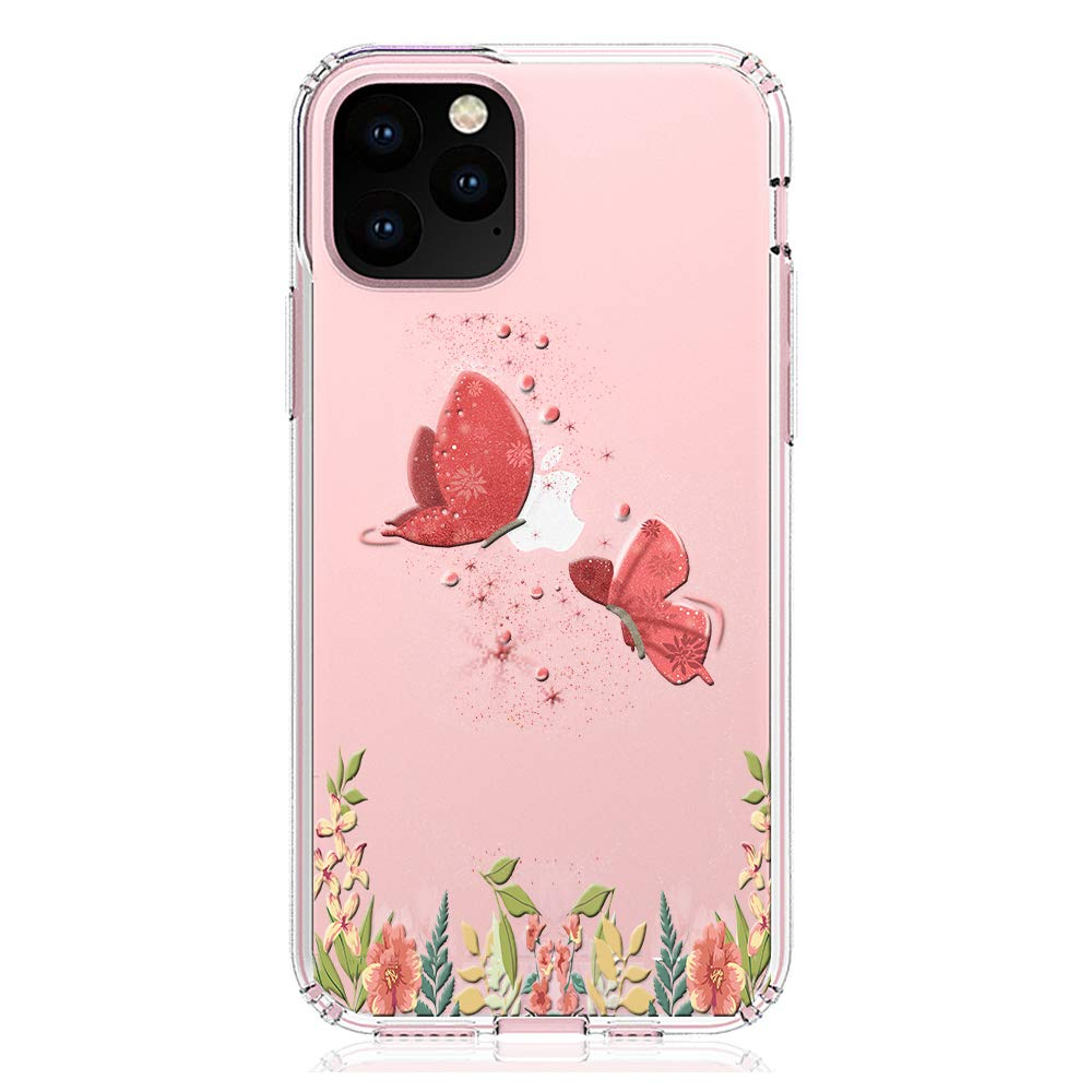 """HUIYCUU Compatible with iPhone 11 Pro 5.8"""" Case, Shockproof Anti-Slip Cute Rose Flower Clear Design Pattern Funny Slim Fit Soft Bumper Girl Women Cover Case for iPhone 11Pro / XI Pro 5.8"""", Butterfly"""