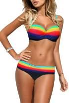 Astylish Women's Push Up Two Piece Bikini Swimsuits Padded Swimwear Bathing Suits