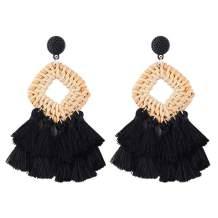 WFYOU Rattan Tassel Earrings for Women Bohemian Statement Handmade Woven Drop Dangle Earrings