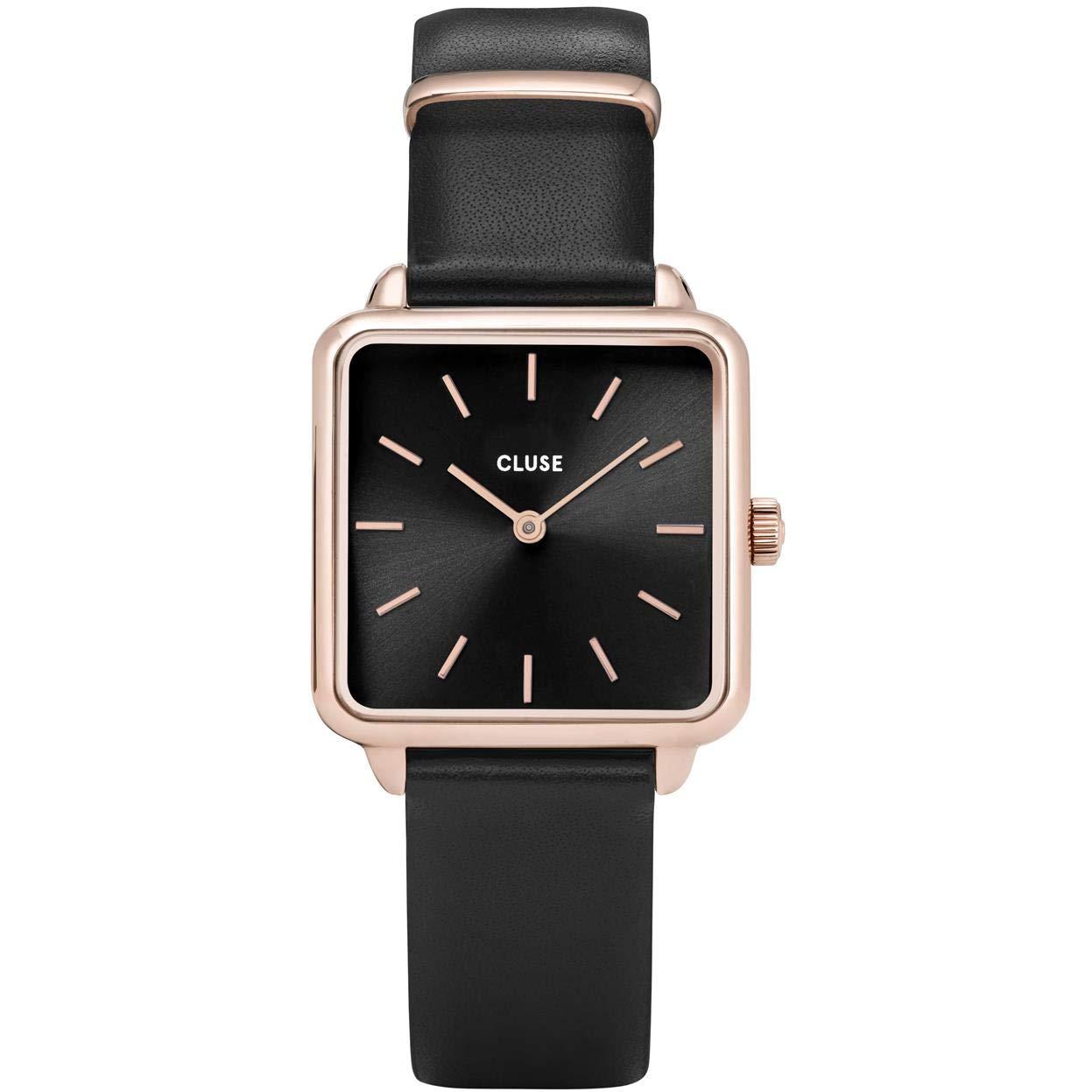 CLUSE LA TÉTRAGONE Rose Gold Black Black CL60007 Women's Watch 29mm Square Dial Leather Strap Minimalistic Design Casual Dress Japanese Quartz Elegant Timepiece