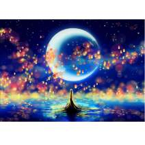 MXJSUA DIY 5D Diamond Painting by Number Kits Full Round Drill Rhinestone Embroidery Cross Stitch Picture Art Craft Home Wall Decor Moon 12x16In