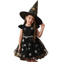 Byinns Girls Dress Party Princes Tutu Tulle Dresses Kids Ruffles Star Embroidery