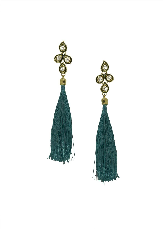 Storeindya Tassel Earrings Valentine Gifts Women Fashion Jewelry Accessories Antique Ethnic Bohemian Statement Jewelry Fringe Drop Dangle Silky Thread Jewelry Hanging Earrings