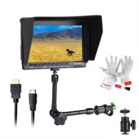 "Feelworld FW759 7 Inch On-Camera Field Video Monitor with 11"" Magic Adjustable Arm- 1280x800 High Resolution, Wide View Angle IPS Panel, Enhanced 400cd/m2 Backlight and 800:1 Color Contrast Ratio"