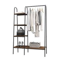 soges Free-Standing Garment Racks Metal Clothing Rack with Storage Shelvels and Hanging Rod Closet Storage Organizer Clothing Rack Black,UT-011